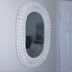 Other - Medium white wicker wall mirror